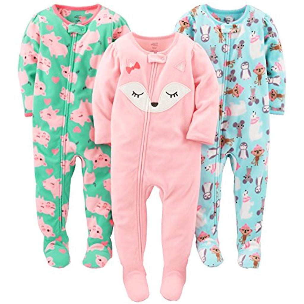 Simple Joys by Carters Baby and Toddler Girls 3-Pack Loose Fit Fleece Footless Pajamas Simple Joys by Carter/'s