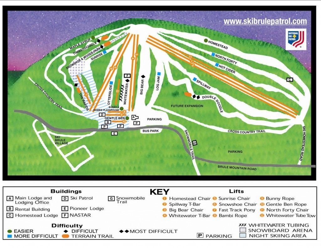Ski Trail Map At Ski Brule A Permier Michigan Ski Resort Michigan