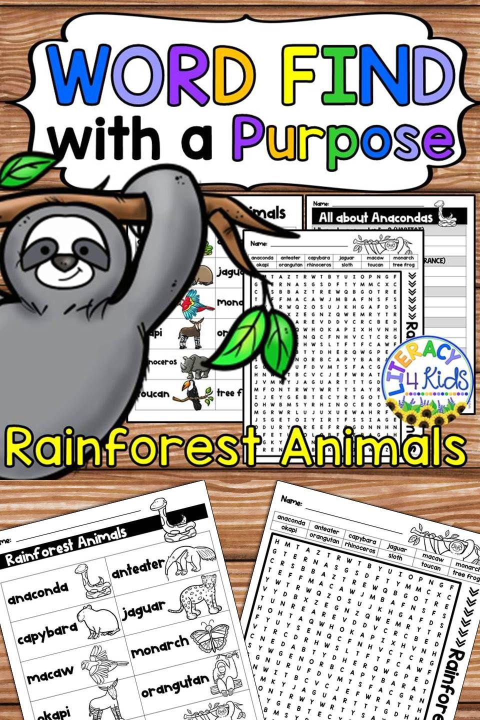 Word Find With A Purpose Rainforest Animals Rainforest Animals Word Find Kindergarten Lessons
