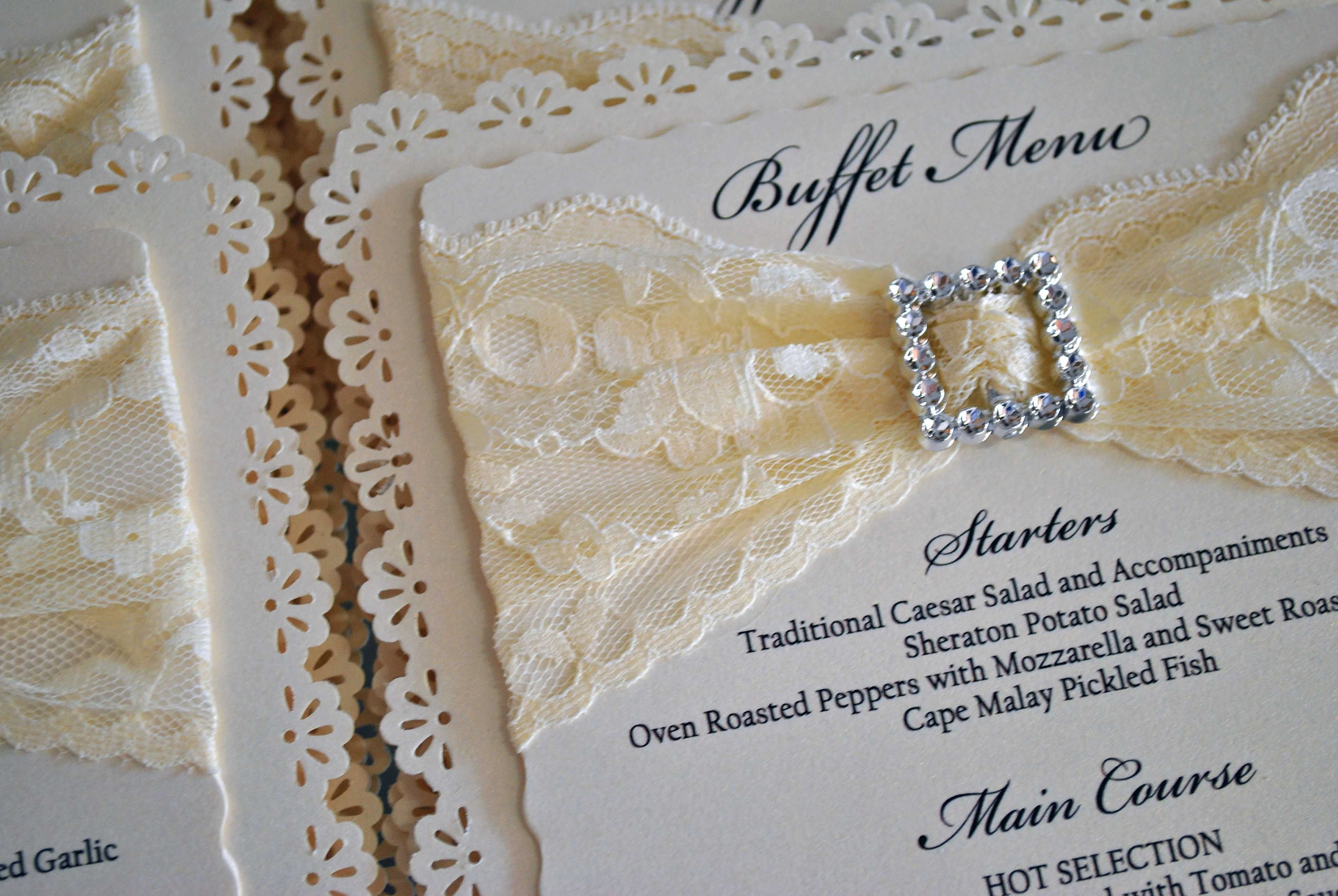 Cream Lace And Diamante Menu Wedding Stationery Pinterest Menu