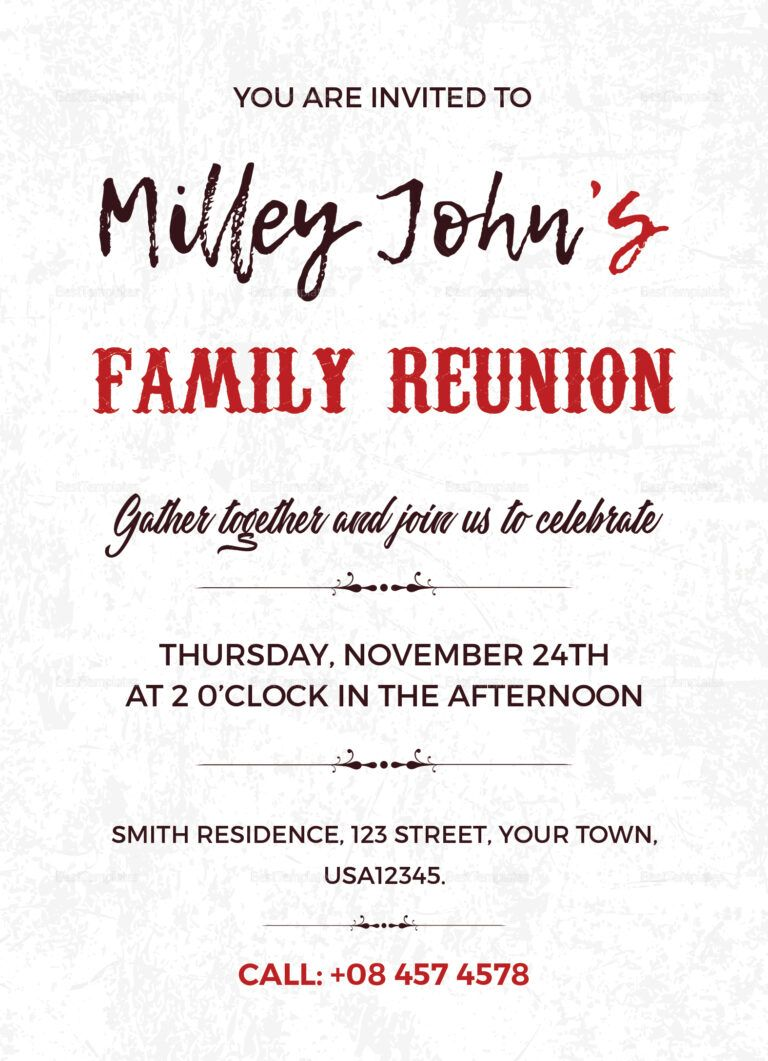 Family Reunion Invitation Card Template pertaining to Reunion