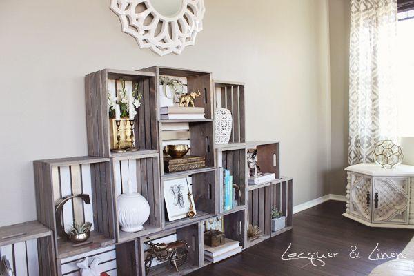 crate shelving unit 7 diy flea market style bookcase the next one pinterest meuble. Black Bedroom Furniture Sets. Home Design Ideas