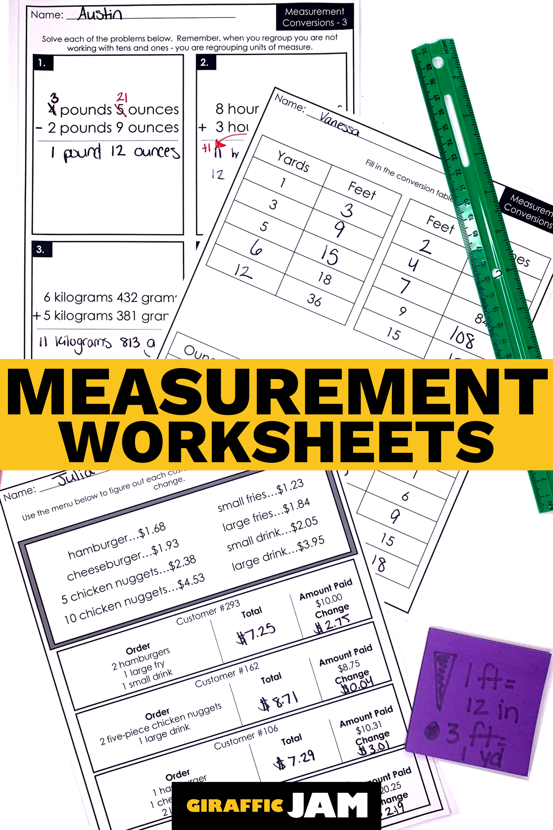 Measurement Worksheets   Measurement Homework   Measurement and Data   Measurement  worksheets [ 2700 x 1800 Pixel ]