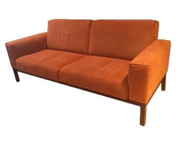 Molteni Co Italian Sofa In Orange Alcantara