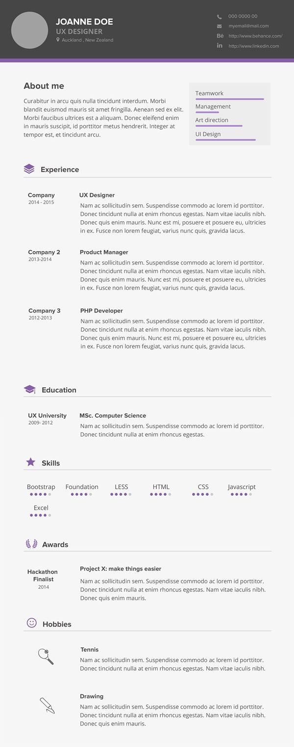 free minimal cv    resume psd template  freepsdfiles