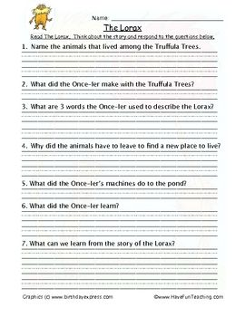 The Lorax Reading Comprehension Worksheet Read The Lorax By Dr The Lorax Printables The Lorax Reading Comprehension Worksheet Read The Lorax By Dr Seuss Think About The Story And Respond To The Questions Below