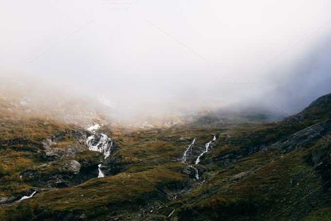 Waterfalls in the Mountain by Premium Stock Photos on @creativemarket