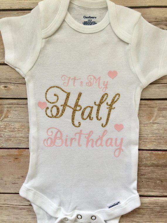 Half Birthday Outfit Shirt 1 2 Onesie Six Month Boy