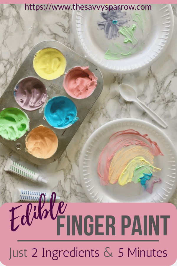 Looking for fun rainy day activities for kids?  Try this easy homemade edible finger paint recipe for toddlers!  This edible finger paint only takes two common ingredients and less than 5 minutes to make.  This is a great for kids craft ideas, preschool craft ideas, sensory play ideas, and more!
