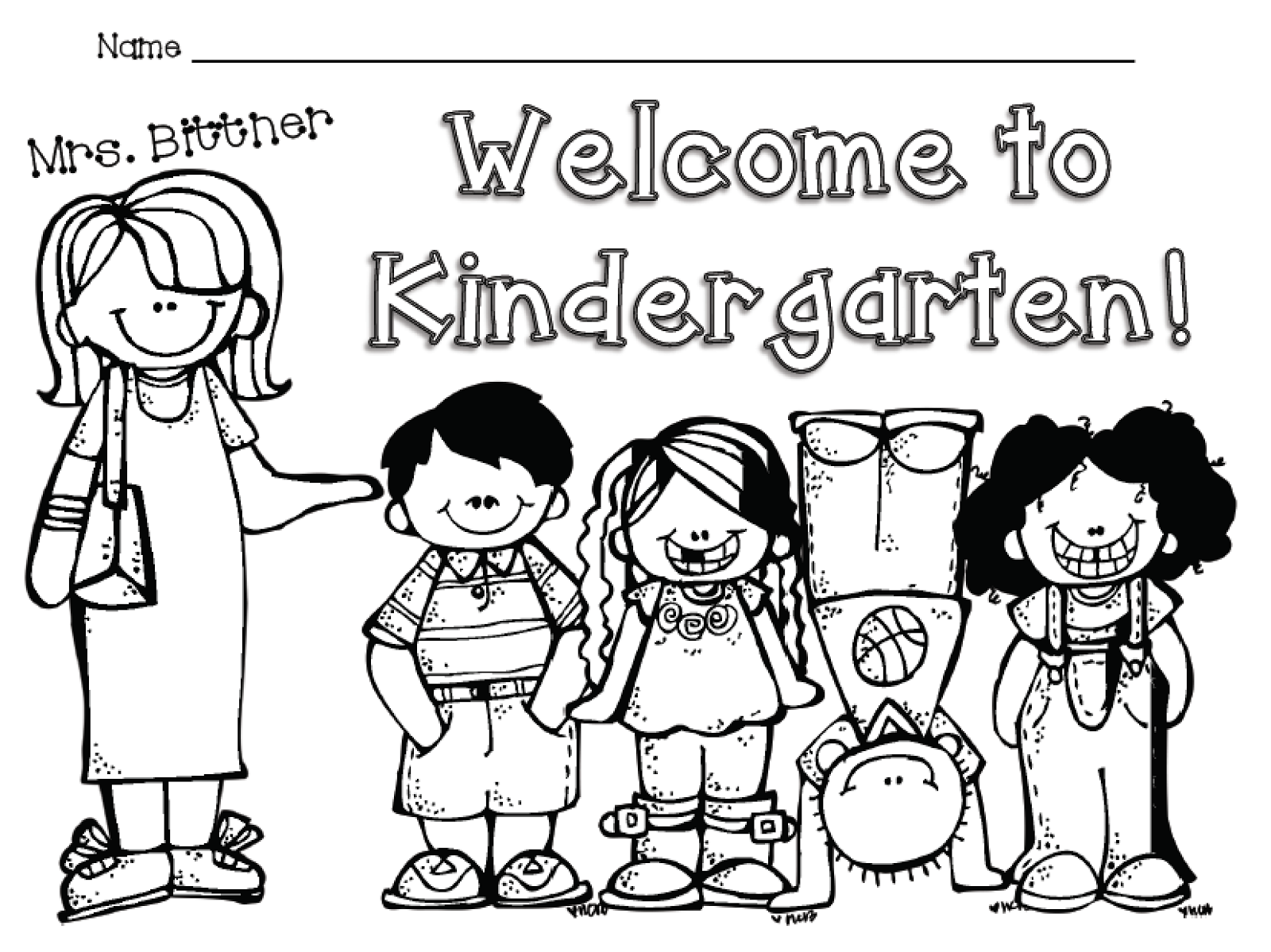 Wel E To Kindergarten Free Color Sheet Mrs Lirette