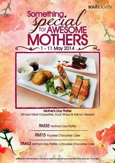SOMETHING SPECIAL FOR AWESOME MOTHERS AT SOULED OUT!   SOULed OUT is offering their: Mother's Day Plate at RM35 Flourless Chocolate Cake at RM15 Mother's Day Platter + Flourless Chocolate Cake at RM43 While stocks last. Terms and conditions apply. Visit their restaurant or website for more details. Call for reservations: Ampang at...  Read more @ http://www.malaysianfoodie.com/2014/05/something-special-awesome-mothers-souled.html?utm_source=PN&utm_medium=Malay