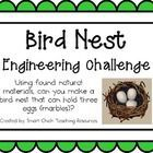 Engineering Challenge:  Using found natural materials, can you make a bird nest that can hold three eggs (marbles) without them falling through?  $