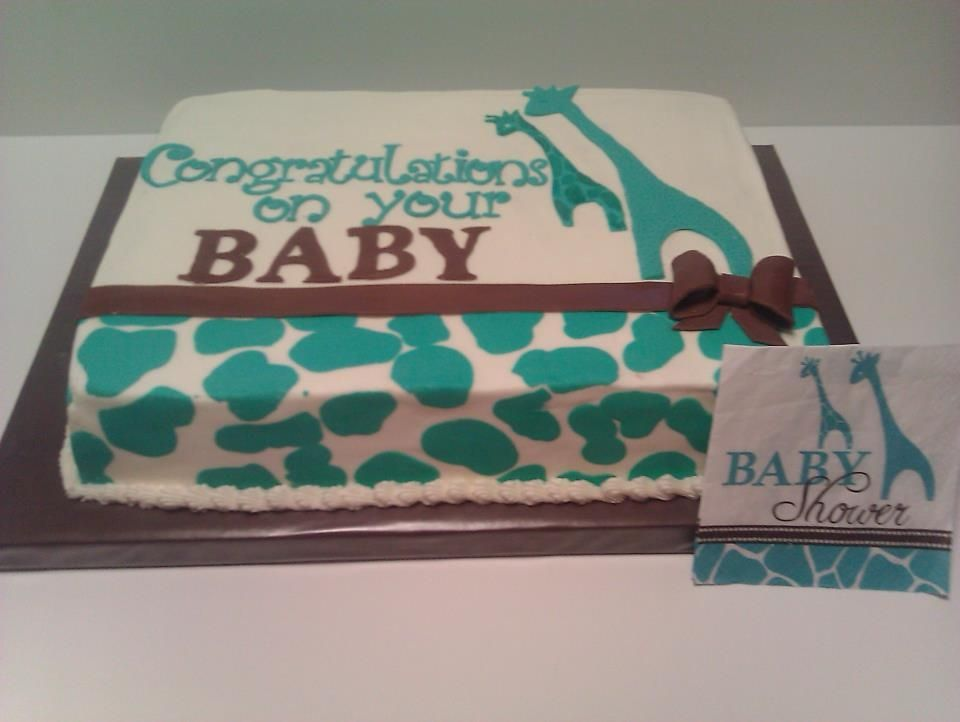 Giraffe Baby Shower Cake   Giraffe Themed Baby Shower Made To Match Party  Theme