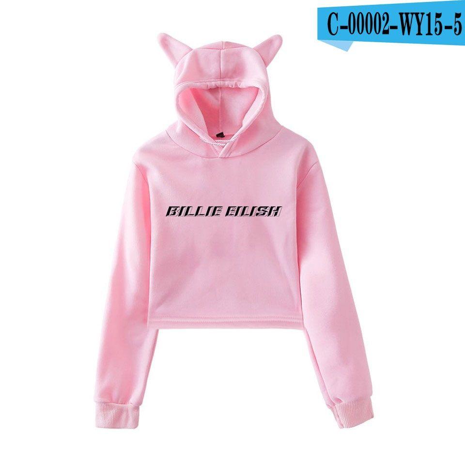 Billie Eilish Crop Top Ear Hoodie With Images Women Hoodies