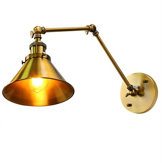 Fuloon vintage retro countryside golden wall lamp long arm pole fuloon vintage retro countryside golden wall lamp long arm pole swing arm wall mount light sconces mozeypictures Choice Image