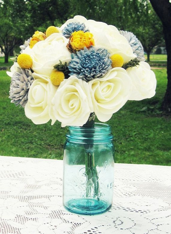 Rustic Bridal Bouquet Package And Bridesmaids Wedding Yellow