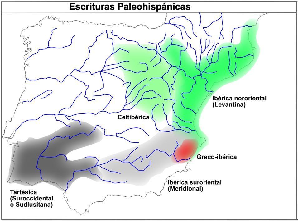 Mapa escriptures paleohispàniques-cast - Escritura ibérica suroriental - Wikipedia, la enciclopedia libre
