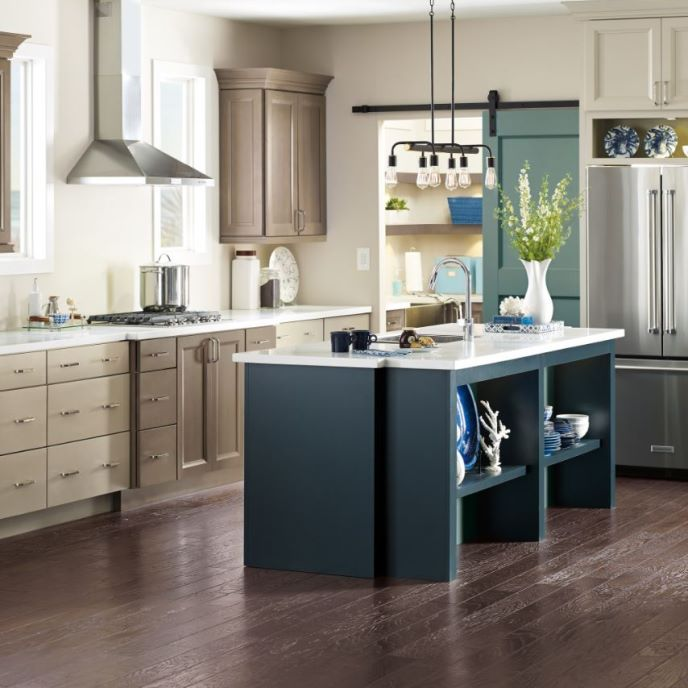 two toned kitchens are being upstaged by three toned color schemes with images maple kitchen on kitchen cabinets color combination id=55457