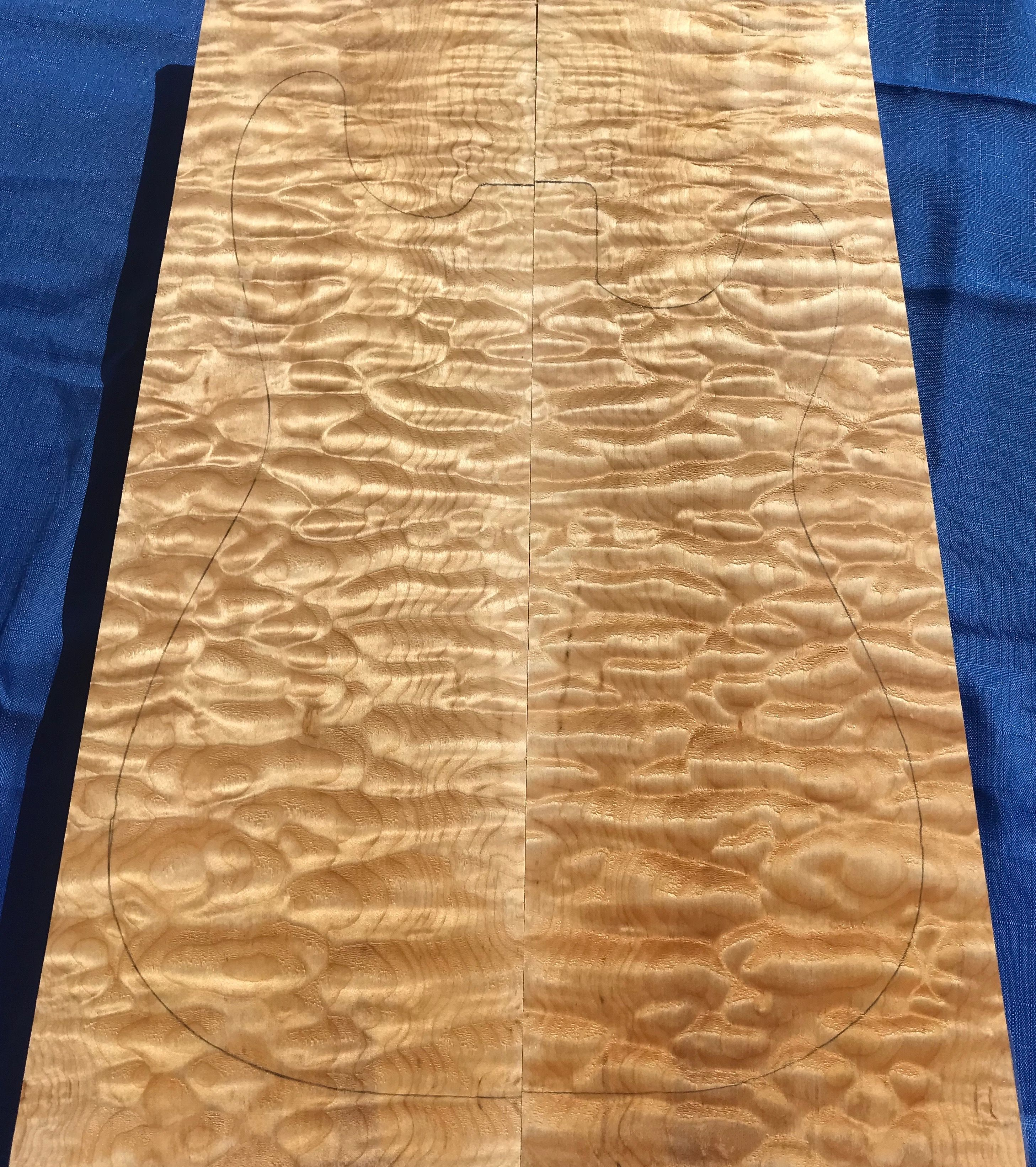 "Quilted Maple ""Bees Wing"" Drop Top Set on eBay Kimball-Hardwoods"