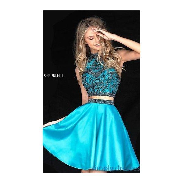 Two Piece Sherri Hill High Neck Semi Formal Dress 100 Liked On