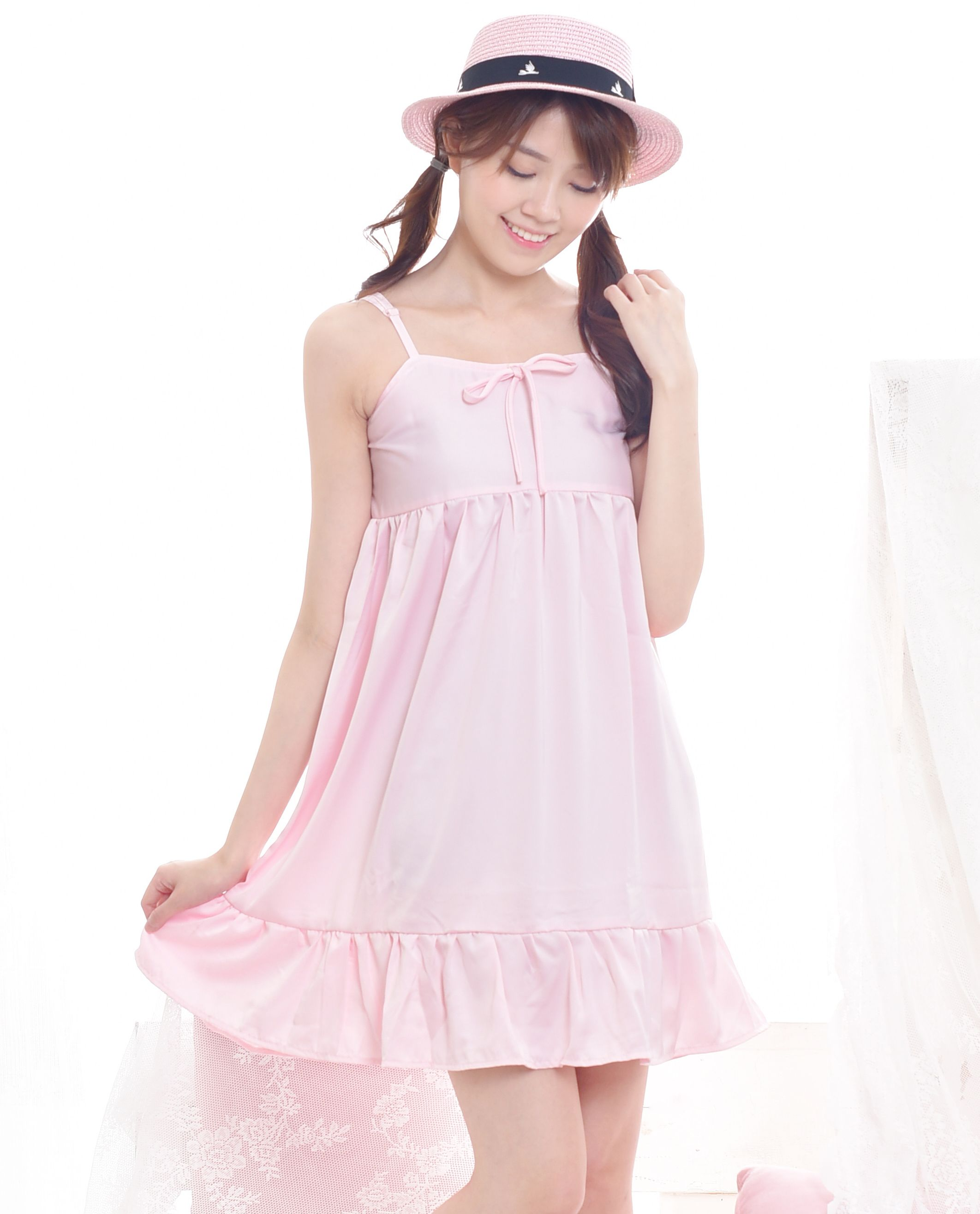 b2767c757ac7 Shop cute woman floral babydoll dress in baby pink color. Perfect for  spring and summer. Jual dress babydoll floral dengan tali spaghetti.