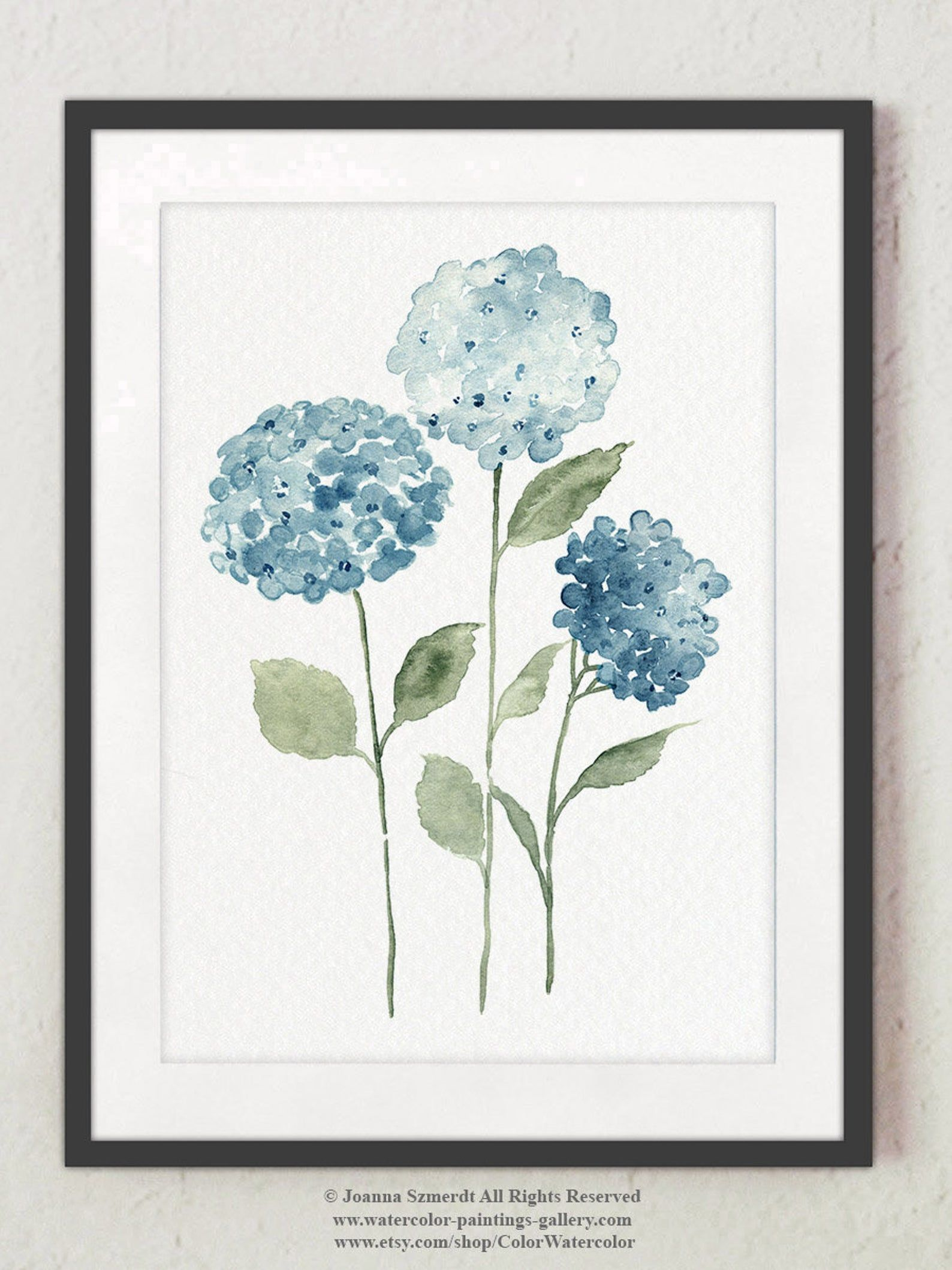 Blue Hydrangea Flowers Set 4 Watercolour Drawings Colorful Botanical Motive Modern Bedroom Decoration Scandinavian Nature Style Home Art In 2020 With Images Watercolor Flowers Paintings Hydrangeas Art Flower Painting