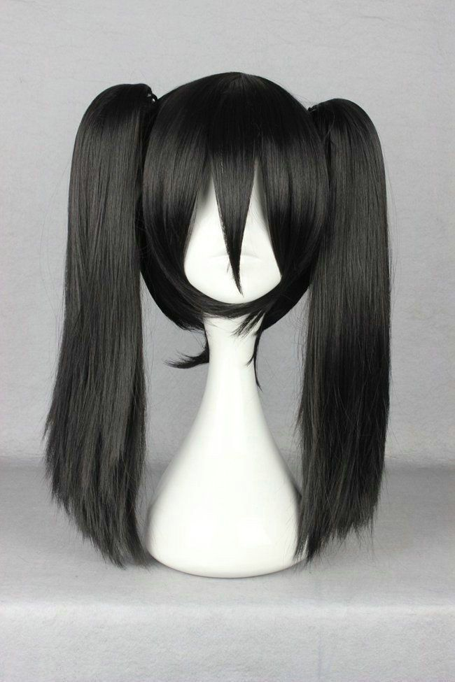 Black Straight Medium Pigtail Ponytail Women S Cosplay Anime Hair Wig Wigs Ponytail Wig Wigs Cosplay Wigs