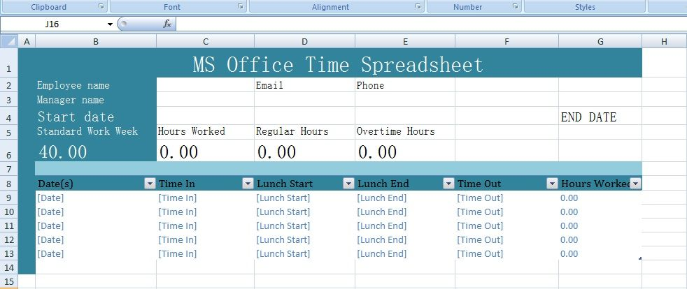 Get MS Office Time Spreadsheet Templates \u2013 Excel Spreadsheet