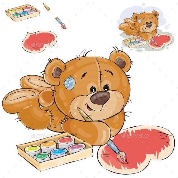 Brown teddy bear paints orsacchiotti - Orsacchiotti stampabili ...