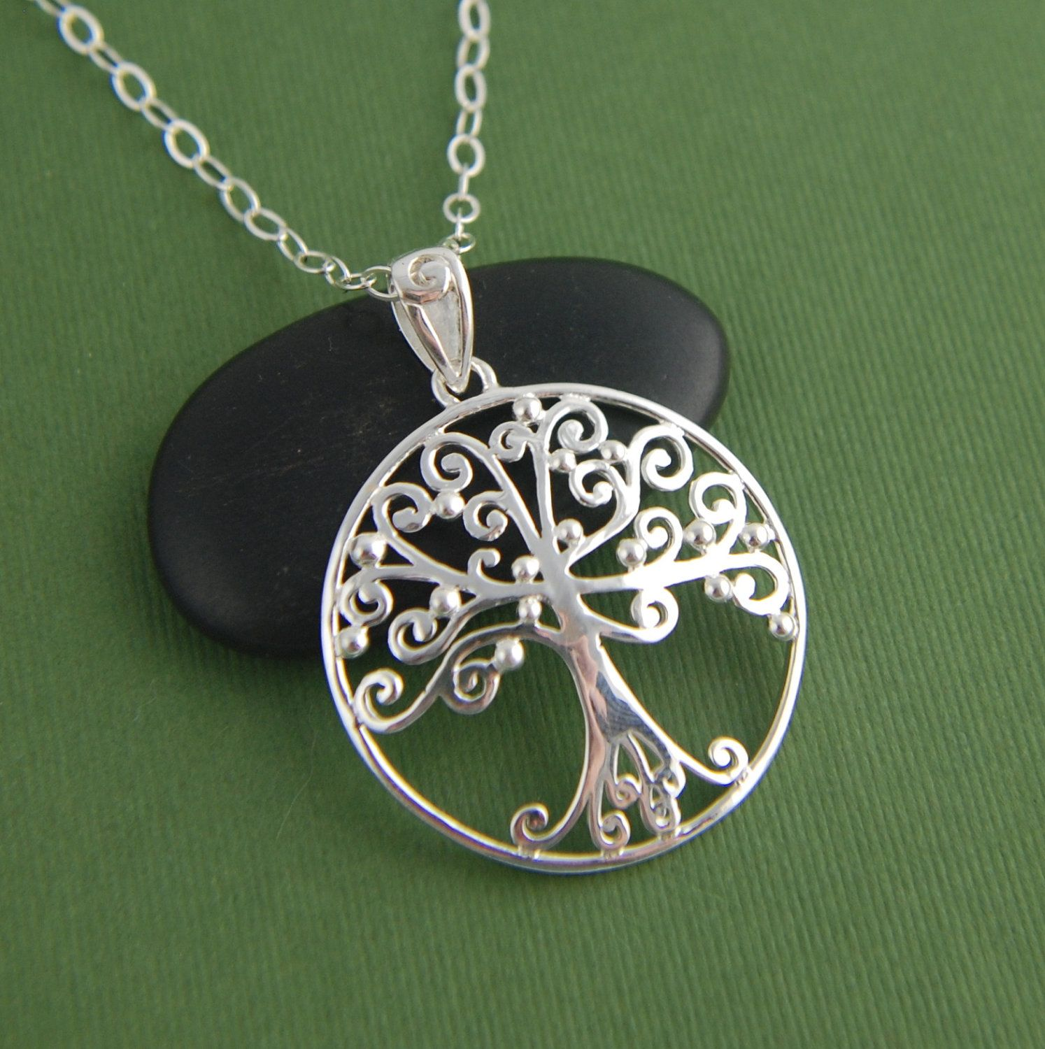 Large filigree tree of life pendant necklace in sterling silver ...