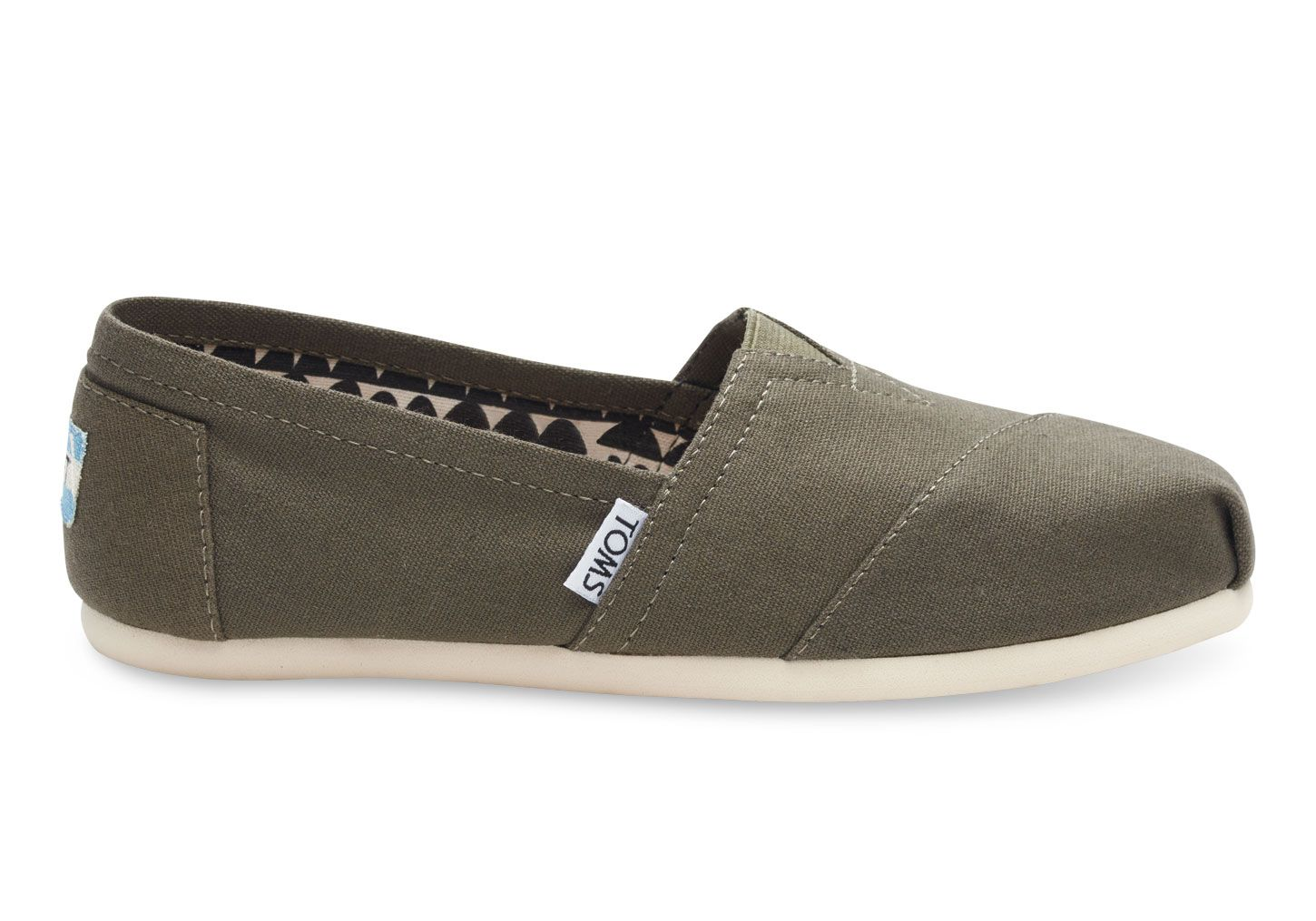 Canvas slip on shoes, Olive green