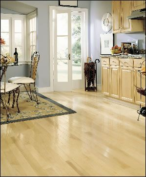 Natural Maple Floors W Blue Walls And White Trim Decor