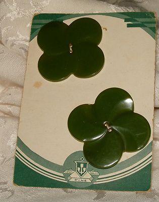 """Original Vintage Card of 2 Huge Green Bakelite Buttons on Deco Card 1 7/8""""   eBay"""