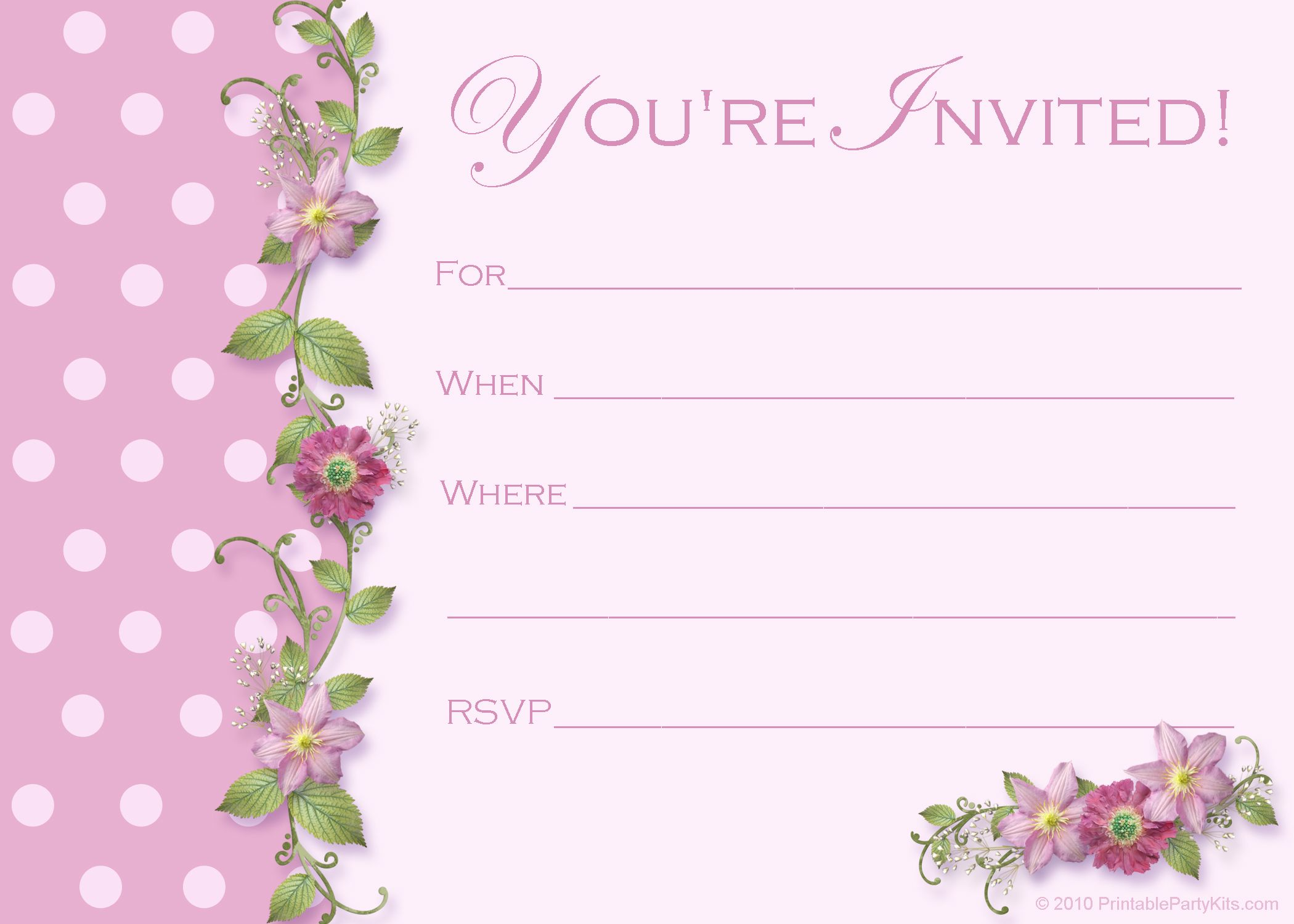 Image For Blank Birthday Invitations Templates Parties Weddings - Birthday party invitation cards to print