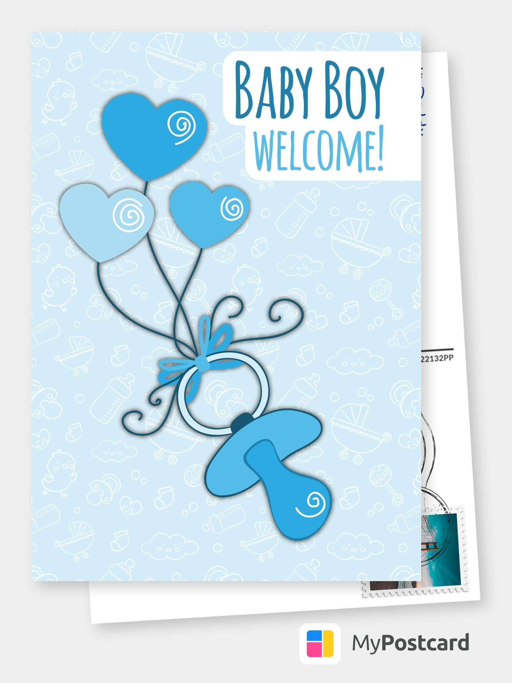 Baby Boy Welcome Baby Family Cards Send Real Postcards Online Baby Greeting Cards Baby Boy Cards Boy Cards