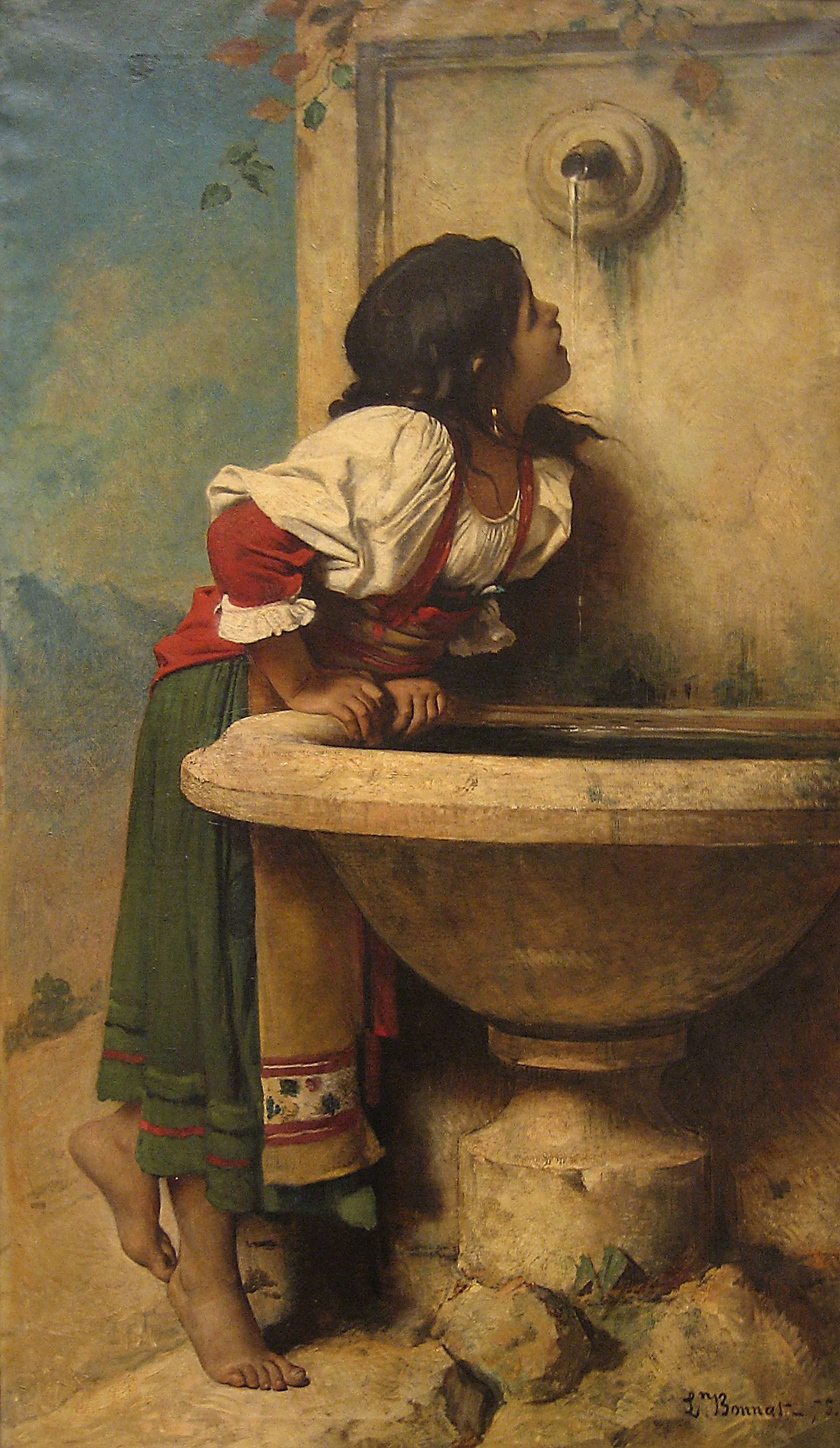 Roman Girl at a Fountain by French painter Léon Bonnat