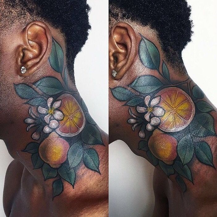 The Black Skin Tattoo World Skin Color Tattoos Dark Skin Tattoo Neck Tattoo