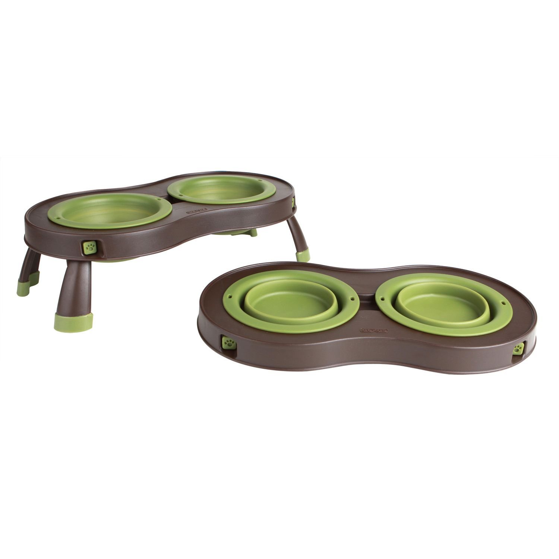 Dexas popware green brown collapsible pet feeder dog
