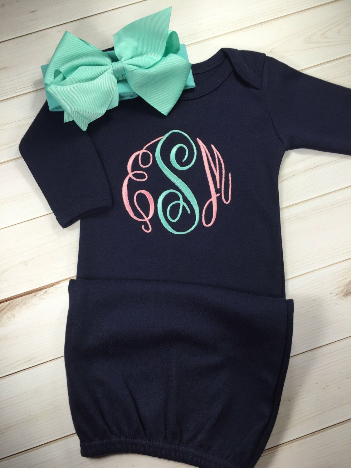 Baby girl coming home outfit monogram gown with matching bow baby girl coming home outfit monogram gown with matching bow headband navy baby gown negle Image collections