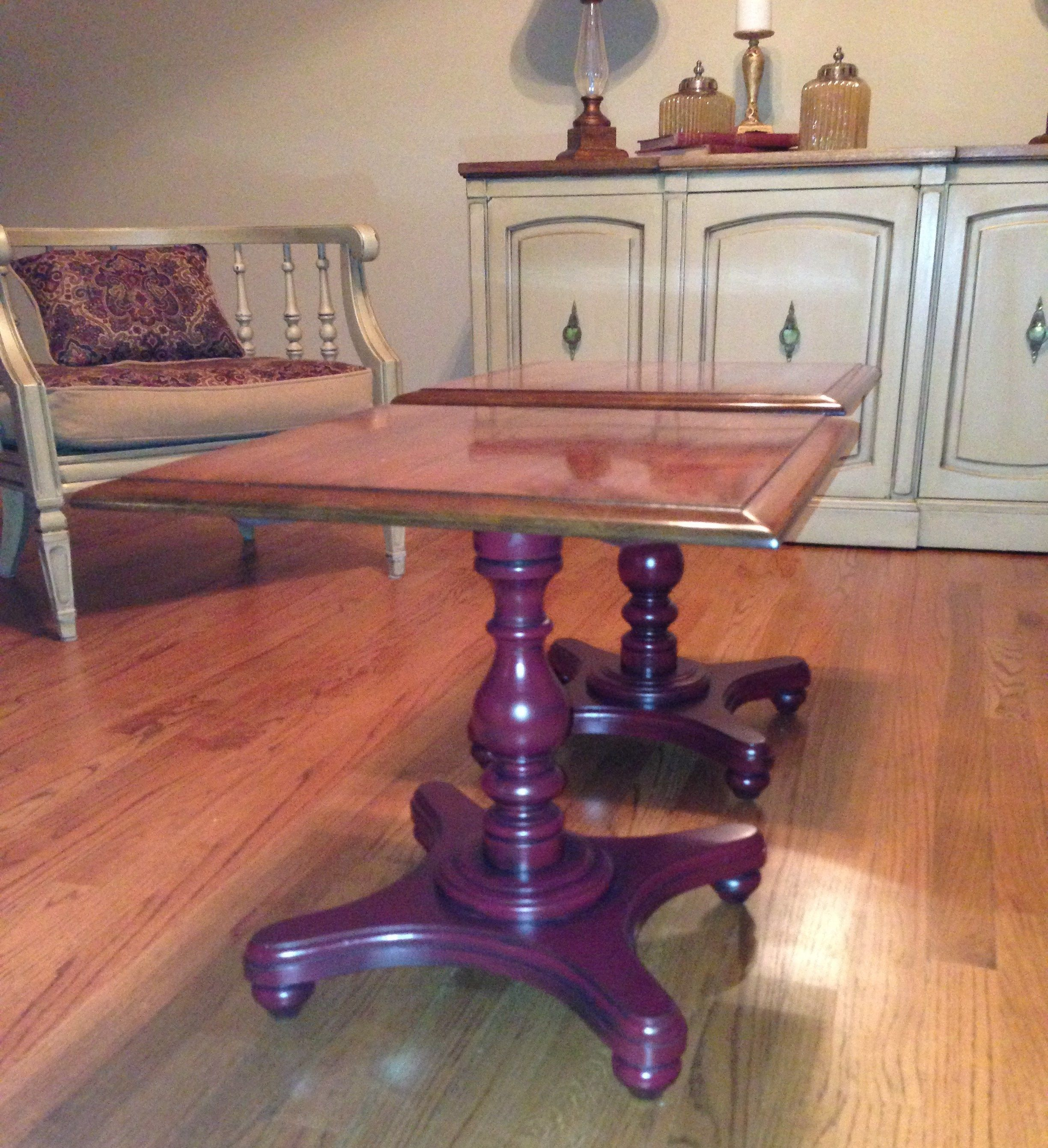 Etonnant Refinished End Tables. Finished In A Garnet Paint With Mocha Glaze. 2 End  Tables