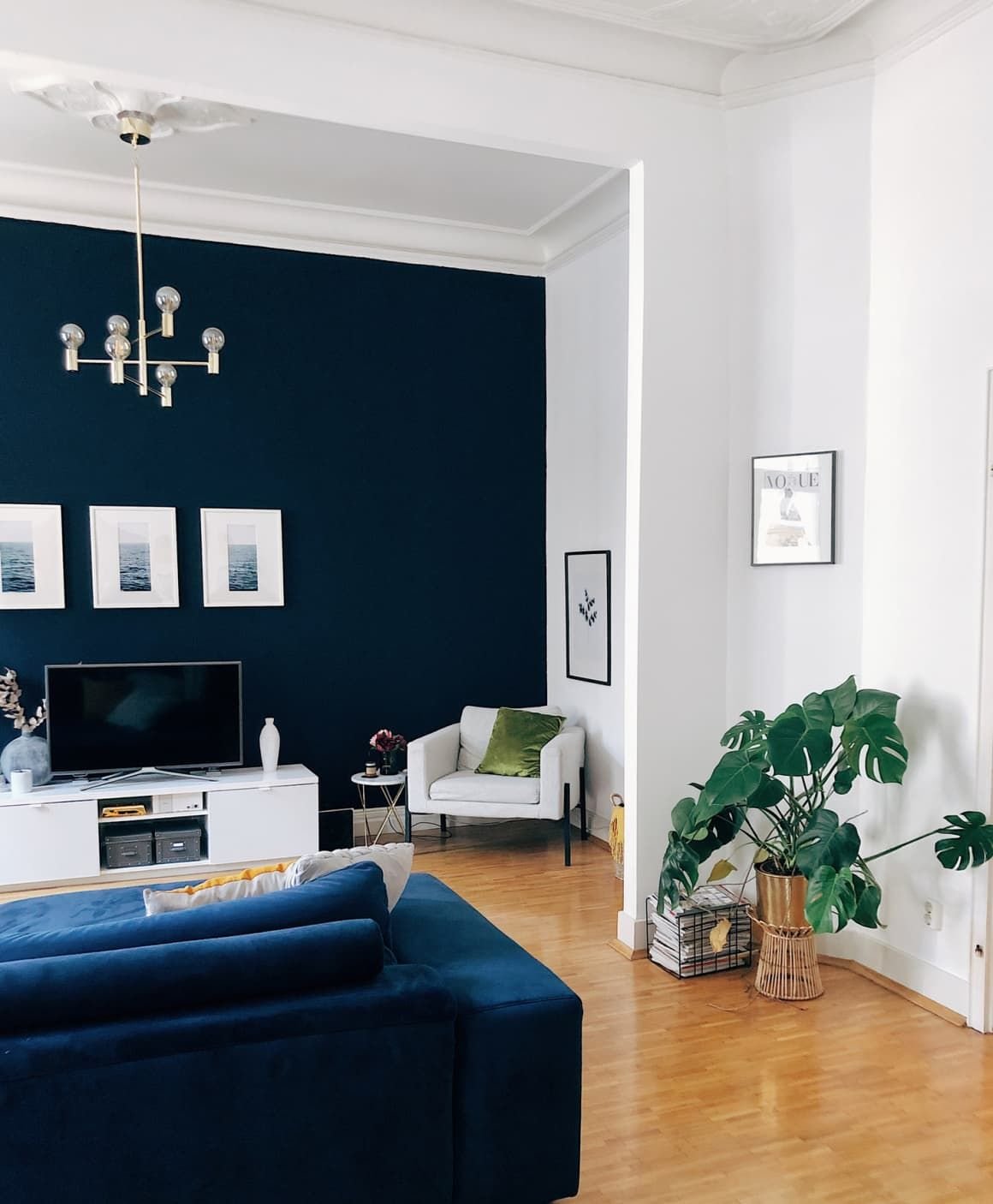 A Rental Apartment In Germany Is A Gorgeous Mix Of Mid Century Modern Boho And Scandinavian Accent Walls In Living Room Blue Accent Wall Living Room Blue Walls Living Room