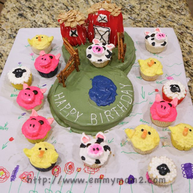 Farm animal birthday cake and cupcakes Perfect for toddler boy or