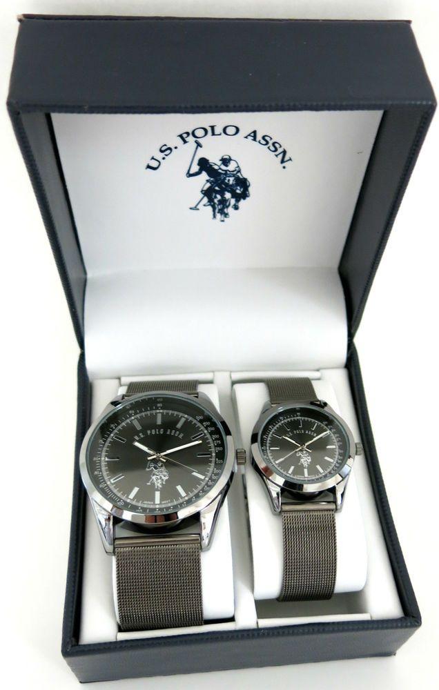 b6e47193705 U.S. Polo Assn. Classic USC2249 Gunmetal-Tone Mesh Strap Black Dial Couple  Watch  USPoloAssn  Fashion