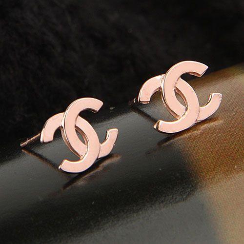 Elegant Double C Rose Gold Stud Earrings