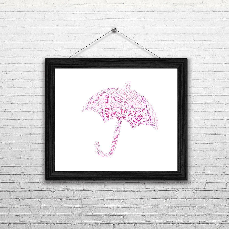 Pink umbrella with paris words paris word art printable wall pink umbrella with paris words paris word art printable wall art typography amipublicfo Gallery