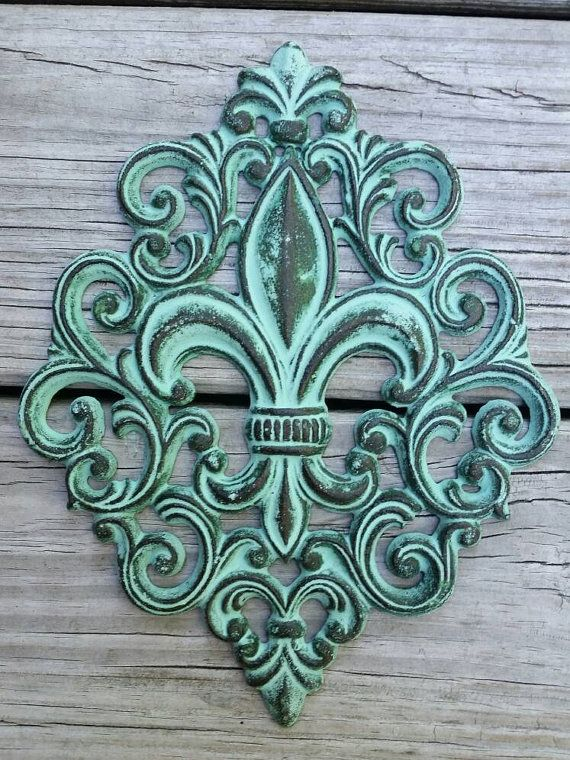 Cast Iron Fleur De Lis Wall Plaque By Roadsidetrunkshow
