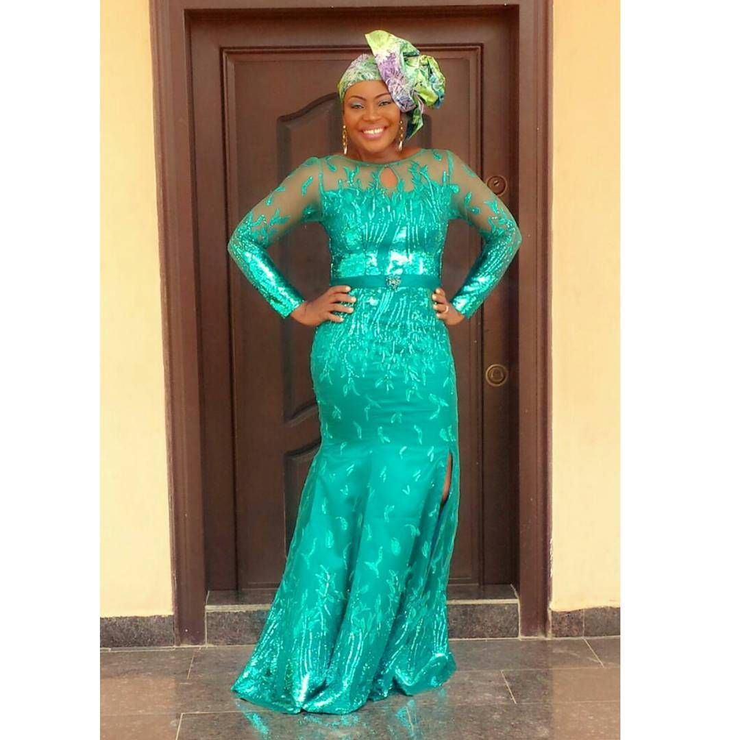Explore Latest Aso Ebi Styles Ankara Long Gown Combination Lace African