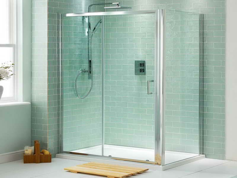 Sliding Glass Shower Doors with Green Tile | bathroom remodel ...