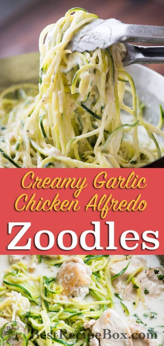 Creamy garlic chicken alfredo with zucchini noodles -  #alfredo #chicken #creamy #garlic #noo... #creamygarlicchicken