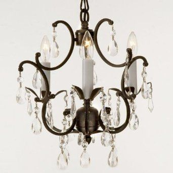 Wrought Iron Crystal Chandelier Lighting Country French 3 Lights